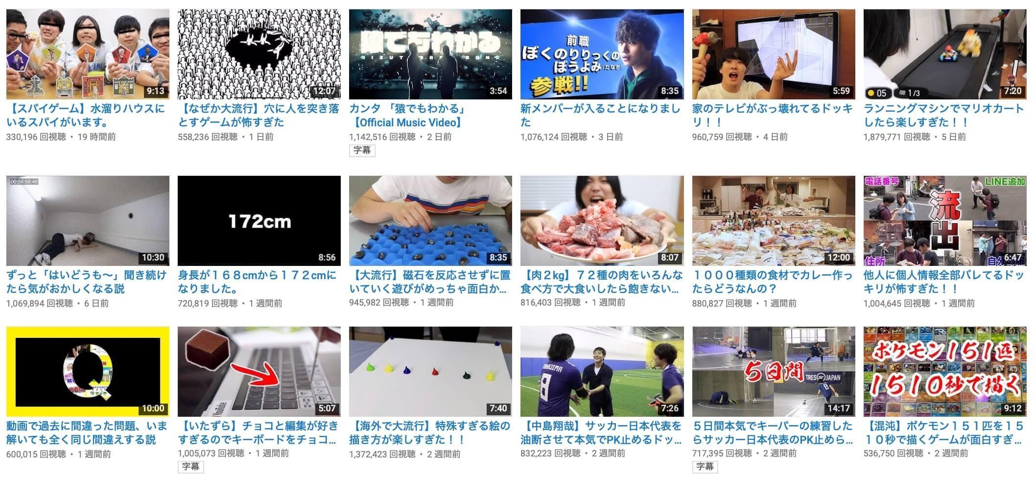 Youtubeの動画一覧
